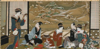 Зимняя вечеринка , Утагава Тоёхару, середина 18-го - конец 19 века