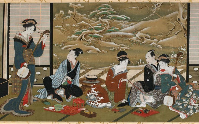 Зимняя вечеринка, Утагава Тоёхару, середина 18-го - конец 19 века