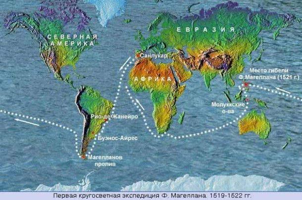 Карта кругосветного путешествия Магеллана