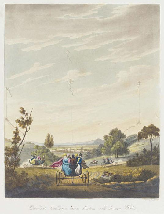 Charvolant: карета, запряженная воздушными змеями (Британия, 19 век)