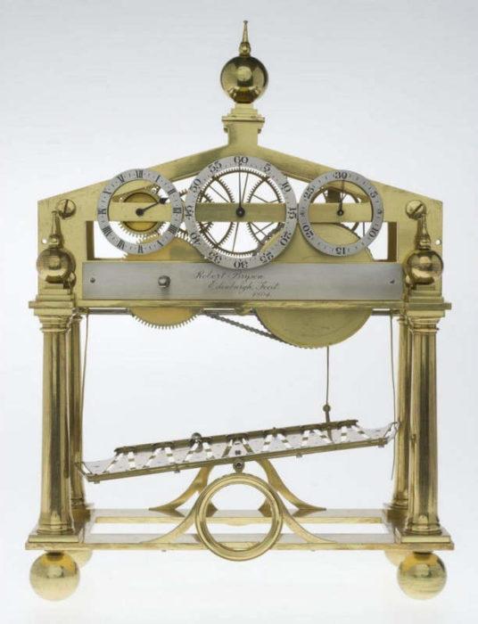 Часы с катящимися шарами в Национальном музее Шотландии