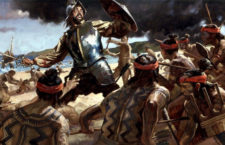Последний бой Магеллана, остров Мактан, 1521 год. Картина Грегори Манчесса