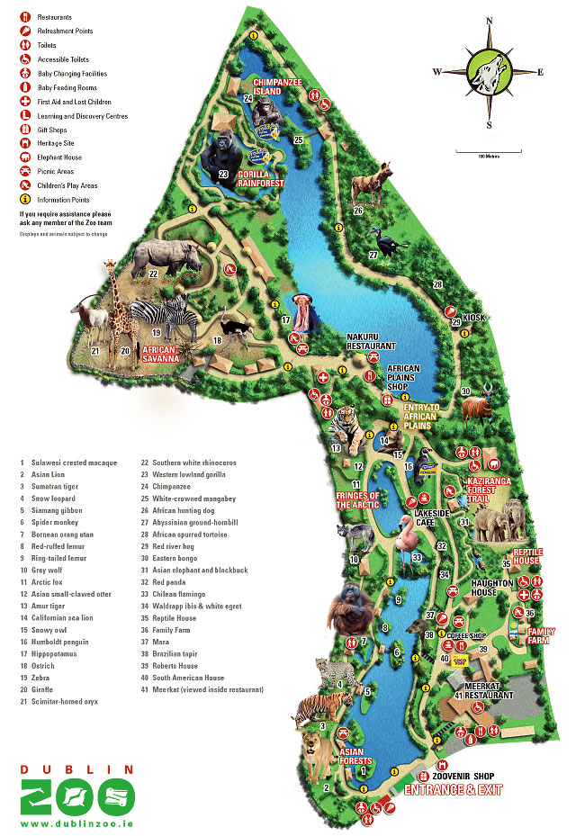 Дублинский зоопарк Карта Дублинского зоопарка