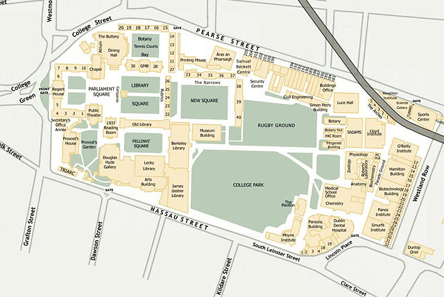 Карта размещения зданий и других объектов на территории Тринити-колледжа в Дублине