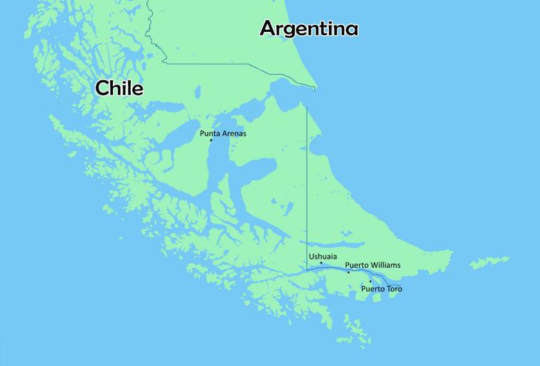 Самые южные города в мире на карте