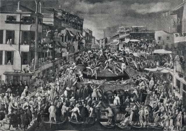 Бой на мосту в Венеции, средневековая гравюра