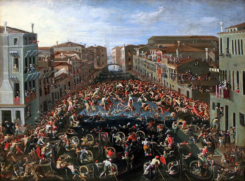 Бой на мосту в Венеции, живопись